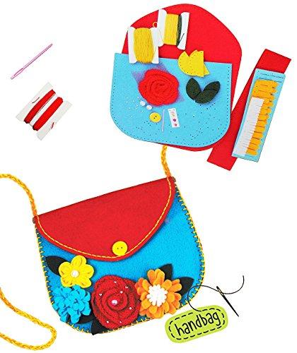 alles-meine.de GmbH Bastelset - Filz Umhängetasche -  Blume & Blüten  - zum Sticken, einfaches Nähen per Hand - Tasche / Filztasche - Komplettset filzen - Creativ - Henkeltasch.. -