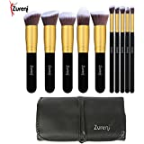 Zureni Makeup Brushes For Face And Eye Cosmetics, Premium Synthetic Hair Organizer (With Bag)