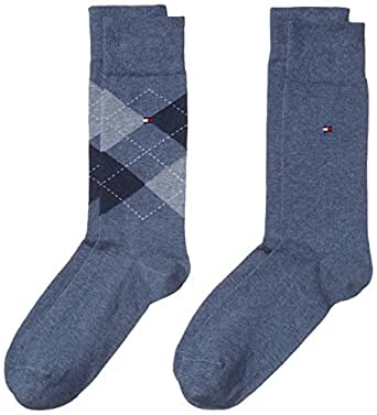 Tommy Hilfiger - TH MEN SOCK CHECK 2P, Calze uomo, Jeans 356, 39-42