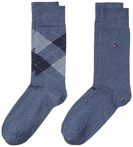 Denim Hilfiger Tommy (Tommy Hilfiger Herren Socken TH MEN CHECK, 2er Pack, Gr. 43/46, Blau (jeans 356))