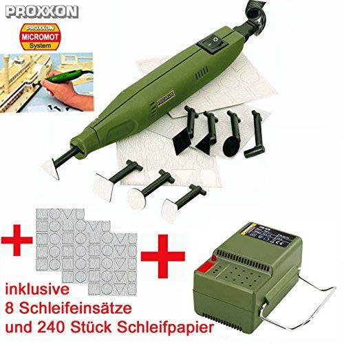 Preisvergleich Produktbild PROXXON MICROMOT Mini Schleifer / Penschleifer PS 13 Set – inklusive Netzgerät, 4 gerade Schleifeinsätze, 4 abgewinkelte Schleifeinsätze und 240 Schleifblätter in verschiedenen Formen und Körnungen