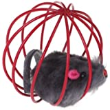TOOGOO(R) Pet Cat Kitten Funny Playing Toy Teal Fake Mouse Mice Rat in Cage Ball