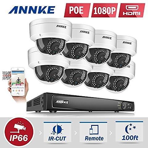 Annke PoE système de surveillance 1080P HD 8CH NVR surveillance vidéo avec 8 IP caméras de surveillance 1080P sans disque dur compatible avec Hikvison DAHUA IP caméra caméra ONVIF