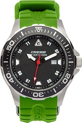 Cressi Manta Reloj Submarino, Unisex Adulto, Plateado / Negro / Verde, U