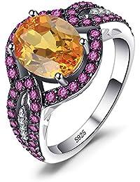 JewelryPalace Anillo Cóctel Aniversario de Compromiso Elegante 4.6ct Amarillo Rosa Oval Zafiro en palta de