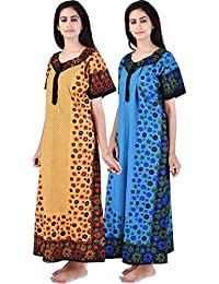 Silver Organisation Multicolor Long Cotton (Pack Of 2) Combo Womens Printed Nightdress
