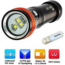 Archon D15VP (W21VP) Lumière de Torche de Plongée CREE LED 1300 Lumen Lampe de Poche Sous l'eau 100 Mètres Lumière Sous-marine Torches Rechargeables Utilisez la Batterie 18650 (Batterie non incluse)