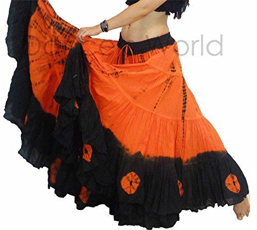 25 Yard Yards Tribal Zigeuner Baumwolle Bauch Tanzen Tanz Rock ATS L36inch - TIE DYE DESIGN (SCHWARZ (Uk Arabian Costume)