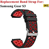 TASLAR Soft Replacement Breathable Black and Red Sport Bands with Air Holes for Samsung Gear S3 Smart Watch Band