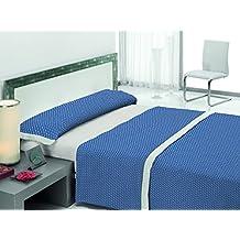 Textilhome Juego de Sábana Estampada ENCHO - Cama 150cm*. Color Azul