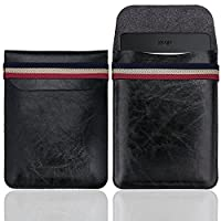 WALNEW 6 Inch Kindle Sleeve - Microfiber leather Lightweight Pouch Case with Elastic Strap Closure for New Kindle, Kindle 4/5, Kindle Touch, Kindle Paperwhite, Kindle Voyage, Black
