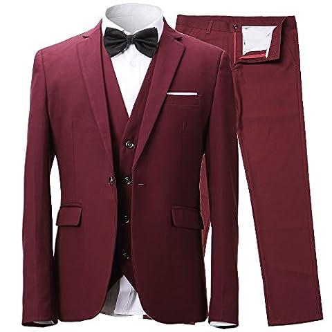 Harrms Hommes Costumes d'affaires polyester&fibre svelte 3 pièces pour costume + gilet + pantalon Taille 48 ~ 60 Pour Travail, fêtes, mariages
