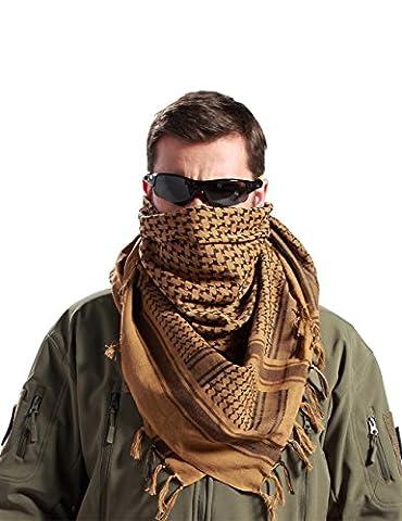 FREE SOLDIER Sport Extérieur Camping Randonnée désert tactique Tête écharpe pour homme et femme, marron, 110*110cm