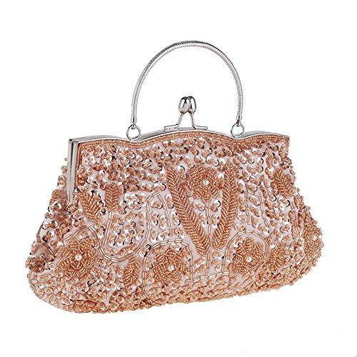 Swallowuk Damen Retro Handtaschen-Korne Handgemachtes Korn-Stickerei-Paket Handtasche Champagner