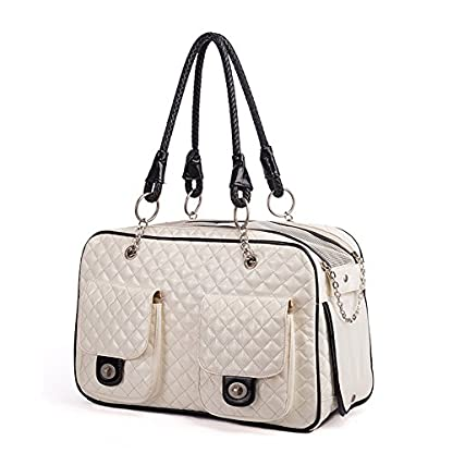 Luxury Pet Cat Small Dog Travel Carrier Bag Pu Leather Outdoor Foldable Portable Puppy Dog Chihuahua Carrying Tote Bag… 3