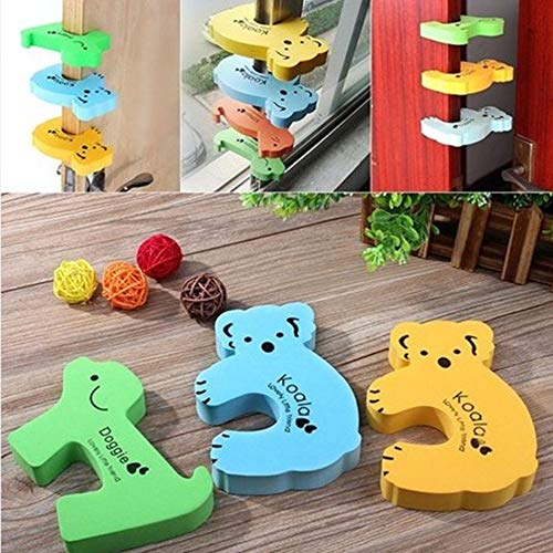 Door Stops - Fashion Cute Door Stops Safety Guard Finger Protect Thick Child Kids Baby Animal Cartoon Jammers - Locks Large Doors Stops Brushed Clear Bumpers Ball Down Iron Security Yellow S