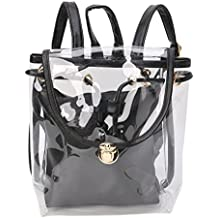 JAGENIE borsa 2in 1coulisse zaino trasparente da viaggio spiaggia zaino da donna Nero