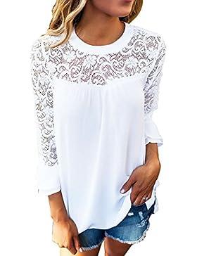 BAINASIQI Mujer Camiseta Blusa de Manga Larga en Crepes de Encaje