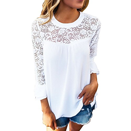 BAINASIQI Damen Casual Spitzen Chiffon Bluse Rundhals Langarm T-Shirt Tops Einfarbig (S, Weiß)