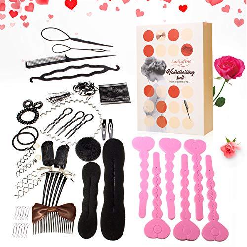 Accesorios Cabello, LuckyFine Accesorios de Peinado Kit para Mujeres, Set de Diseño de Cabello, Herramientas para Pelo (19 Tipos)