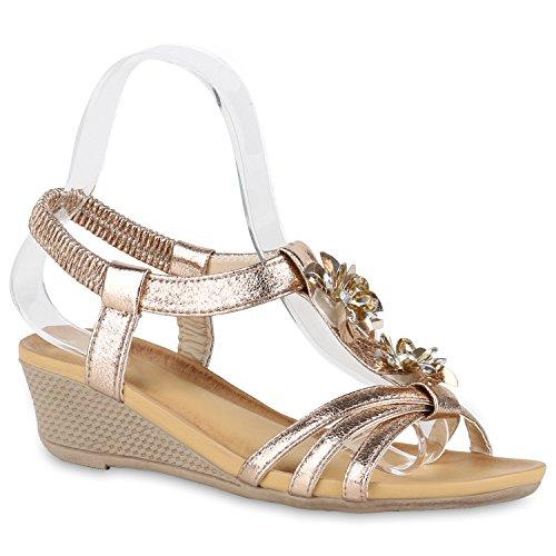 Bequeme Damen Keilsandaletten Strass Sandaletten Keilabsatz Rose Gold Steine Brooklyn