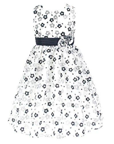 n Anlässe Festkleid Blumenmädchen Tee-Länge Kleid Schwarz & Weiß Gr.146/152 (BK2309-12#) (Tee-mädchen-kleider)
