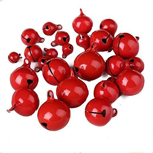 Yalulu 50 Stück 8-20 MM Rot Laute Jingle Bells Glöckchen Schellen mit Öse Hänger Perlen für Das Handwerk Weihnachten Deko (20mm)