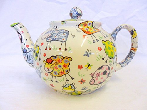 Crazy Farm 6 Cup Teapot By Heron Cross Pottery.