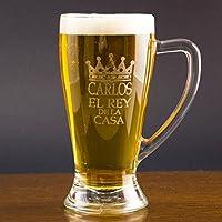 Regalo para hombres personalizable: jarra de cerveza baviera grabada con su nombre, el texto 'el rey de la casa' y una corona