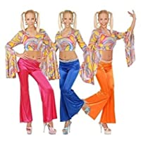 Ladies Bell Bottoms Ladies Pink Orange Or Blue Accessory for 60s 70s Hippy Fancy Dress