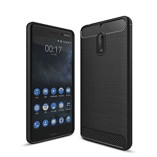 EKINHUI Case Cover Dünne und Leightweight gebürstete Carbon Fibre Robuste Rüstung Back Cover Stoßstange Fall Shockproof Drop Resistance Shell Cover für Nokia 6 ( Color : Black ) Black