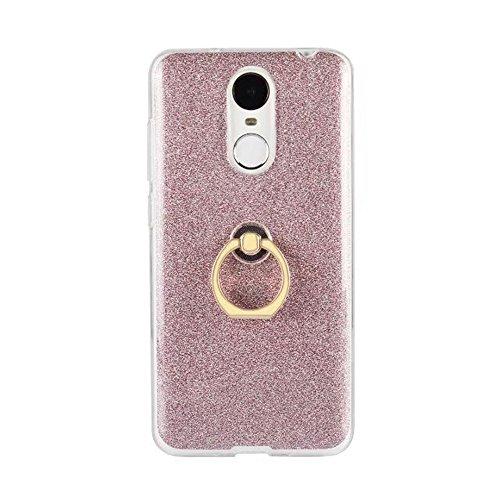 EKINHUI Case Cover Soft Flexible TPU Back Cover Case Shockproof Schutzhülle mit Bling Glitter Sparkles und Kickstand für Huawei Changxiang 6 ( Color : Gold ) Pink