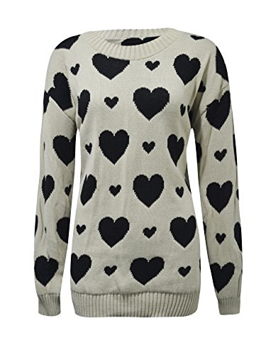 Comfiestyle - Robe - Pull - Manches Longues - Femme Cream With Black Hearts