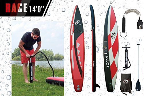 ISUP Aqua Marina Race - Stand Up Paddle Board inkl. Pumpe, Leash Coil, Alu-Paddel, Tasche