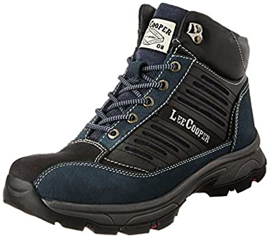 Lee Cooper Men's Blue Leather Trekking and Hiking Boots - 10 UK
