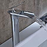 Aimadi Waschtischarmatur Wasserfall Wasserhahn Bad Mischbatterie Badarmatur Waschbeckenarmatur Waschbecken Badezimmer Hoch Chrom