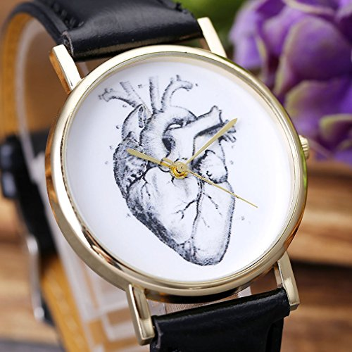 JSDDE Uhren,Vintage Damen Armbanduhr Skizze Organ Herz Zifferblatt Armbanduhr Leder Armband Analog Quarz Uhr,Schwarz - 4