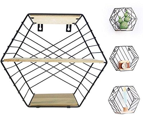 Draht-speicher-korb (Alrsodl Eisen Art Schwarz Sechseck Geometrische Gitter doppelstöckige Wandhalterung Deko Küche Wohnzimmer Aufbewahrung Draht Korb Rack)