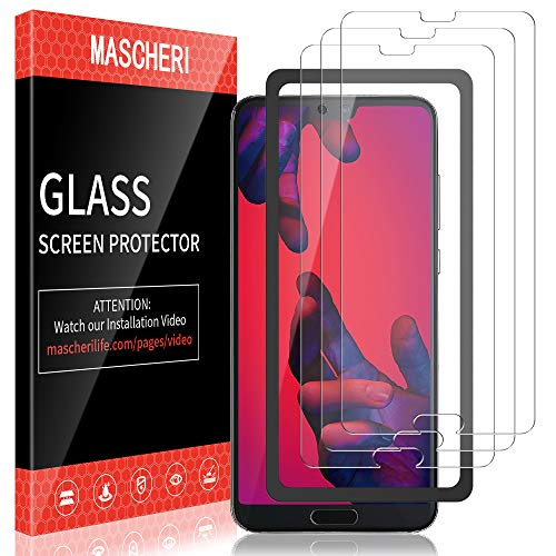 MASCHERI Pellicola Protettiva per Huawei P20 PRO [3 Pezzi] Schermo Protettivo, [Telaio di Posizionamento] Vetro Temperato Schermo Protettivo per Huawei P20 PRO - Trasparente