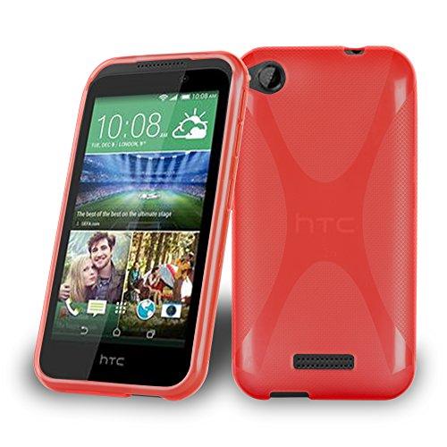 Cadorabo Hülle für HTC Desire 320 Hülle in Inferno Rot Handyhülle aus flexiblem TPU Silikon im X-Line Design Silikonhülle Schutzhülle Soft Back Cover Case Bumper Inferno-Rot
