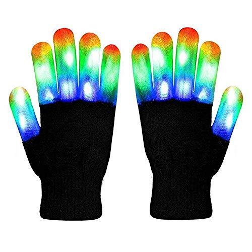 LED Handschuhe mit 3 Lichtfarbe und 6 Modus, blinkende Handschuhe Spielzeug für Weihnachten, Halloween, Kostüm Beleuchtung Geschenke für Kinder, Mädchen, Junge, Erwachsene, zum Geburztag.