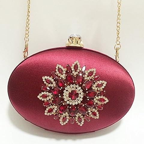 Onorevoli Pochette sera Borsa Nuziale matrimonio Prom moda borsetta dimensioni: l 22cm* altezza 15cm* larghezza 4cm,elegante vino rosso