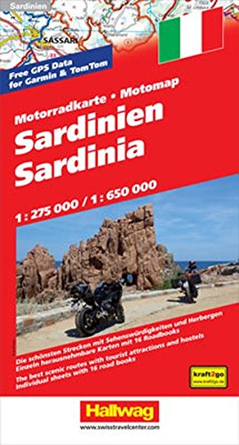 Motomap Sardinien 1 : 275 000 / 1 : 650 000: Die schönsten Strecken mit Sehenswürdigkeiten und Herbergen. GPS-Daten: Gratis Download der Motorradtouren (Hallwag Freizeitkarten) Test