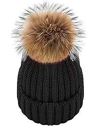 Amazon.es  gorros de lana con pompon - Negro   Gorros de punto ... df20525ef3b