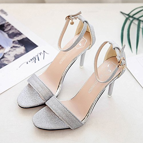 XY&GKSandales femmes Sandales Femmes High-Heeled Simple, ShoeBare,chaussures offrent le meilleur service 36silvery