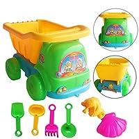 autumn-wind Kids Sand, Sandpit, Beach Toy Play Set -Sand Sandbeach Kids Beach Toys Trolley Castle Bucket Spade Shovel Rake Water Tools. (7pcs)