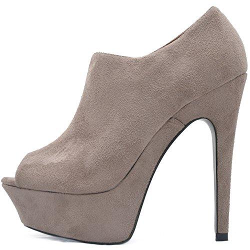 Vain Secrets Plateau Peeptoes Stiefeletten Damen Ankle Boots in Velours Samt mit Reißverschluss (37, Khaki)