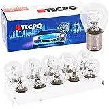 TecPo 10x Kugellampe BAY15S 12V 21/5W Bremslicht Standlicht hinten KFZ Autolampe Glühbirne Glüh-Lampe mit Zwei Glühfäden