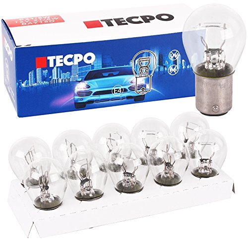 Preisvergleich Produktbild TecPo 10x Kugellampe BAY15S 12V 21 / 5W Bremslicht Standlicht hinten KFZ Autolampe Glühbirne Glüh-Lampe mit Zwei Glühfäden