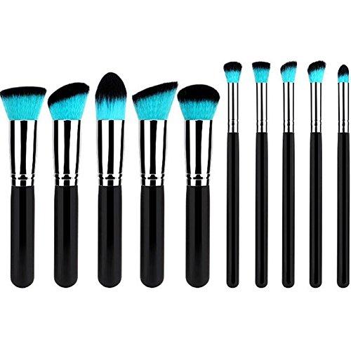 JUNGEN 10PCS Pinceau de Maquillage Professionnel Brosse de Maquillage Trousse Noir